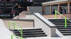 Nyjah Huston, Tom Schaar, and Tyson Bowerbank medal at X Games Austin 2015.