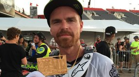 Nate Adams in gold in the Moto X Speed & Style final - X Games Austin 2015