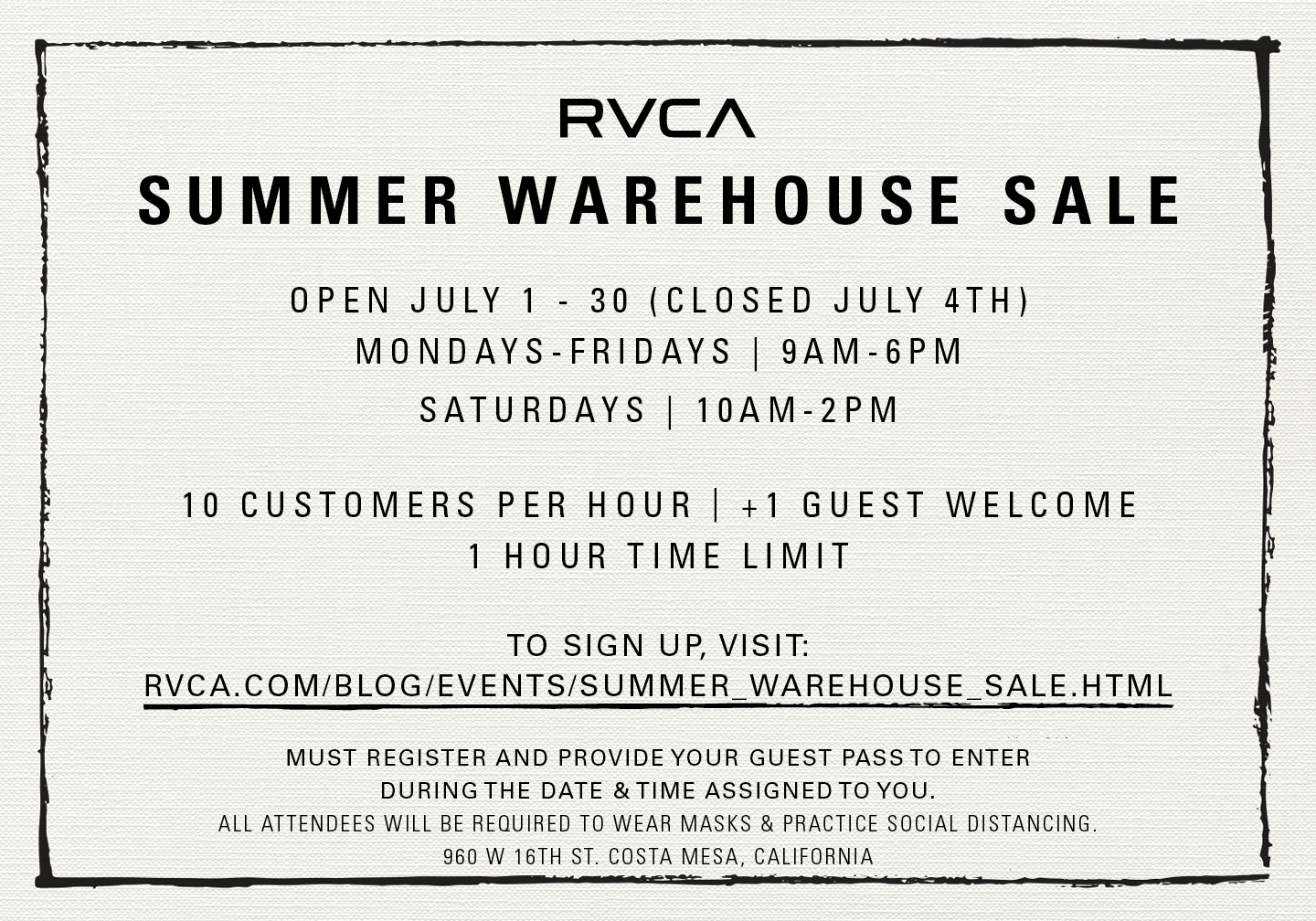 July Summer Warehouse Sale