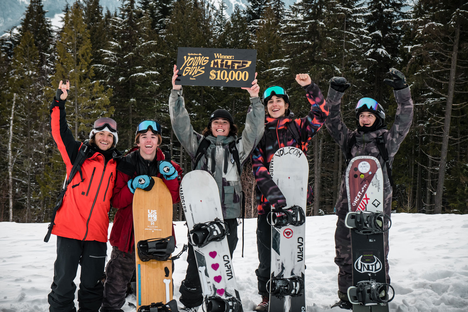 Young Guns Snow winner Miles Falcon, Austen Sweetin and other competitors.